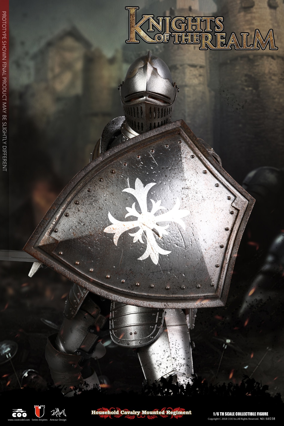 COOMODEL SE038 1:6th KNIGHTS OF THE REALM metal silver Shoulder armor D model