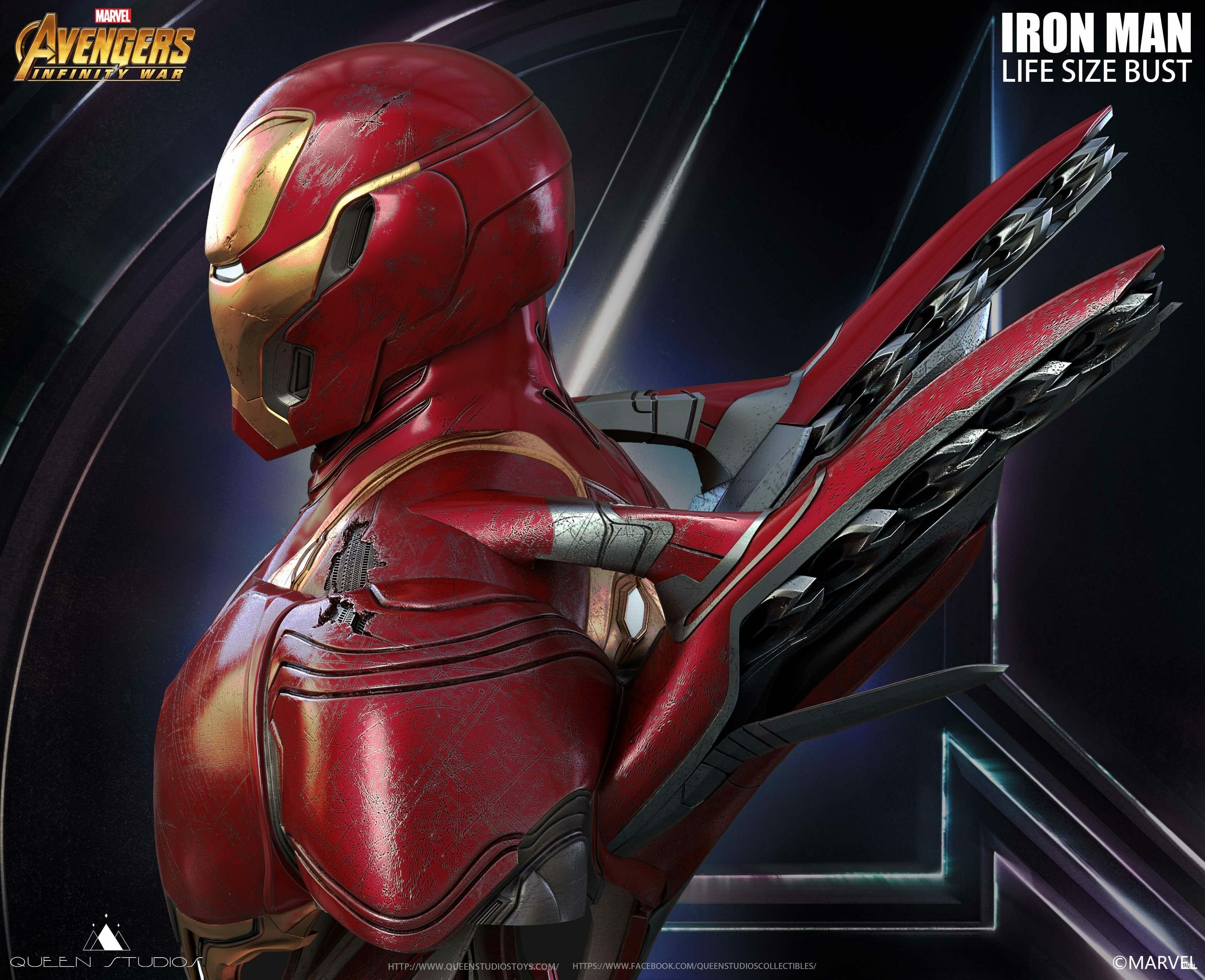 Queen Studios Iron Man Mark L MK 50 1/1 Life Size Statue (EX Battle Damage)