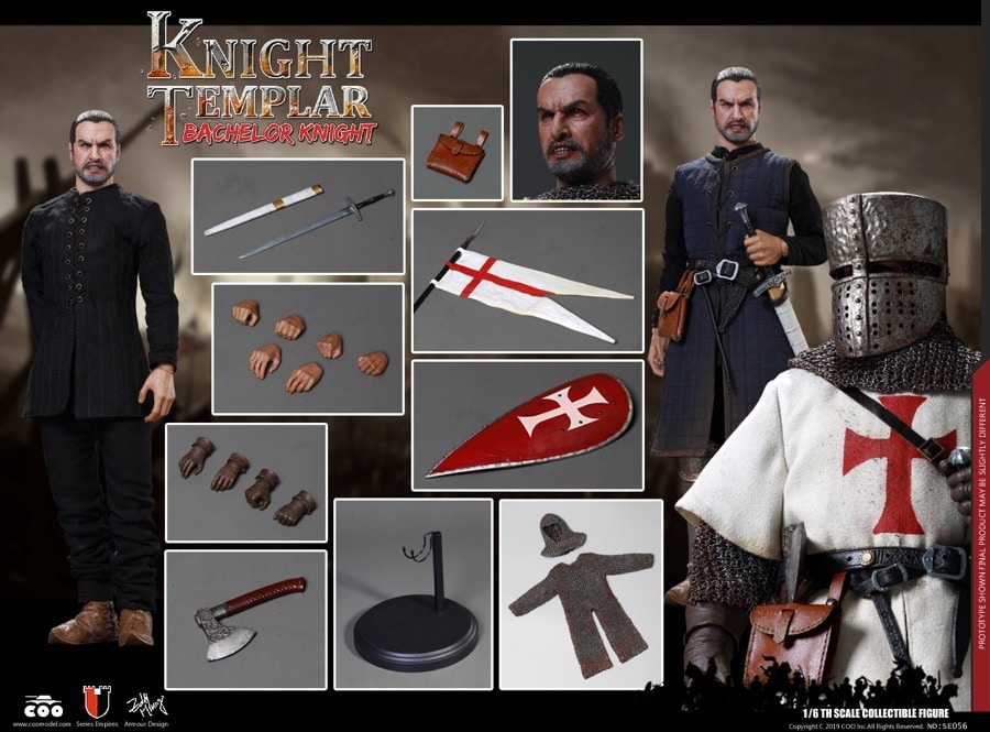 Coomodel Series of Empires Diecast - Bachelor of Knights Templar SE056 1/6  Action Figure