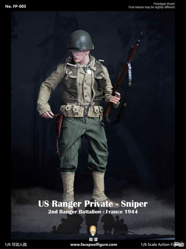 Facepool Figure US Ranger Private Sniper France 1944 1/6